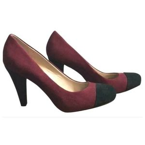Franco Sarto Burgundy Leather Black Suede Heels